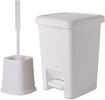 Square Set – Square Pedal Bath Bin & Classic Toilet Brush